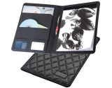 A4 writing case with quilted design and metal plate